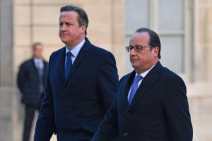 French President Francois Hollande (R) and British Prime Minister David Cameron at the Elysee Palace in Paris on November 23, 2015. The two leaders discussed security co-operation and intelligence sharing in light of the recent terrorist attack in the city. Photo by David Silpa/UPI | License Photo