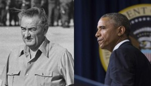 Presidents Lyndon Johnson (L) and Barack Obama (R) faced global crises against non-traditional enemies in Vietnam and against the Islamic State, respectively. Will Obama's strategy repeat the errors of the Johnson administration?