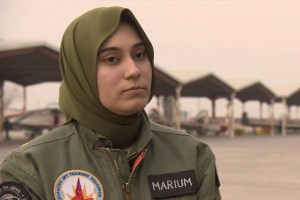 Flying Officer Marium Mukhtiar of the Pakistani Air Force speaks to the BBC in January 2014. Mukhtiar died on Nov. 24, 2015, of injuries sustained after ejecting from a fighter jet during a training mission in Pakistan's Punjab province. BBC screenshot image