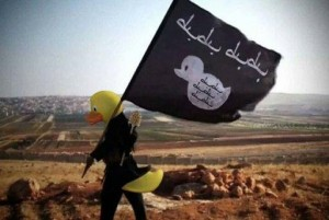 Members of the Reddit group 4chan have taken to editing ISIS propaganda images used online to portray members of the terrorist group as giant rubber ducks. Photo via anonymous/4chan
