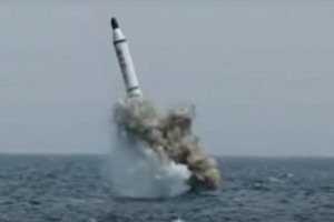 North Korea previously claimed a successful submarine-launched ballistic missile test in May -- officials included the image above in a heavily-edited video bragging about the test -- although South Korean officials said the weapon did not make it more than 100 meters out of the water. Photo by Uriminzokkiri/YouTube.com
