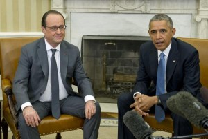 U.S. President Barack Obama, right, hosts President François Hollande of France for a bilateral meeting Tuesday in the Oval Office of the White House in Washington, D.C. The leaders met to discuss coordination of their efforts in the war against ISILin the aftermath of the attacks in Paris. Pool photo by Ron Sachs/UPI | License Photo