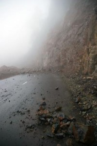 A rockslide similar to the one pictured caused two vehicles to crash in Venezuela, killing one man. The slide was triggered by an earthquake. File photo by GCRO Images/Shutterstock