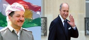 "Masoud Barzani President of Kurdistan and Laurent Fabius French Foreign Minister .The new mail Fabius expressed his country's needs more efforts in the war on terrorism, which he described as ""the enemy of humanity"", and called for greater cooperation in order to ""safeguard the common human values."""