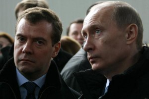 Russian President Vladimir Putin ® pictured with Prime Minister Dmitry Medvedev, who called for wide-ranging economic sanctions against Turkey after the downing of a Russian fighter jet over Syria. File photo by Anatoli Zhdanov/UPI | License Photo