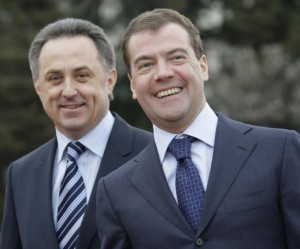 Russian Sports Minister Vitaly Mutko (L) and Russian Prime Minister Dmitry Medvedev at the government's athletic training center in Sochi in 2009. Photo by Anatoli Zhdanov/UPI.   License Photo