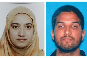Handout photos of Tashfeen Malik (L) and Syed Farook, who police say opened fire at a holiday party in San Bernardino, Calif. on Dec. 2, 2015 -- killing 14 people and injuring 17 others. Thursday, two law enforcement sources reportedly said Farook had been acquainted with a convicted terror recruiter who attempted to arrange travel to Afghanistan for multiple domestic militants in 2012. Photo courtesy San Bernardino Police Department