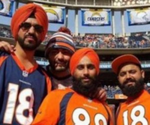 A group of Sikh men attending a Broncos-Chargers game in California say they were hassled by Qualcomm Stadium security for wearing turbans last Sunday.