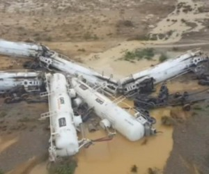 A 26-carriage freight train carrying about 44,000 gallons of sulphuric acid derailed in Australia on Sunday, injuring three train staff members.