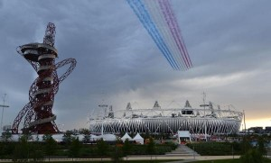 The Royal Air Force aerobatic team, known as the Red Arrows, fly over the Olympic Stadium for the opening ceremony of the 2012 Summer Olympics in London on July 27, 2012. UPI/Brian Kersey | License Photo