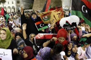 Libyans celebrate the overthrow of the Muammar Gaddafi in 2011. A new UN-brokered peace deal brings together the factions into a unified government. UPI/Tarek Elframawy   License Photo