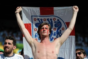 "A British fan supports his team during the 2014 FIFA World Cup in Brazil on June 24, 2014. The British Parliament is considering an official anthem for England as an alternative to ""God Save the Queen."" File photo by Chris Brunskill/UPI 