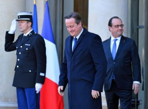 British Prime Minister David Cameron (L) and French President Francois Hollande leave the Elysee Palace in Paris on November 23, 2015. The two leaders met to discuss security co-operation and intelligence sharing in light of the recent terrorist attack in the city. Photo by David Silpa/UPI | License Photo