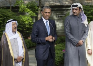 President Barack Obama delivers remarks alongside Kuwaiti Emir Sheikh Sabah Al-Ahmad Al-Sabah (L) following the Gulf Cooperation Council-U.S. summit at Camp David on May 14. Kuwait recalled its ambassador to Iran Tuesday, siding with Saudi Arabia in a diplomatic dispute with Iran. File photo by Kevin Dietsch/UPI | License Photo