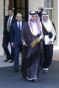 Saudi Arabia Senior Foreign Minister Prince Saud al-Faisal (C), seen here leaving the White House in 2006, announced Sunday that his country is severing ties with Iran. File Photo by Kevin Dietsch/UPI | License Photo