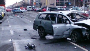 Berlin police are investigating Tuesday morning's car explosion which killed the driver. Pho