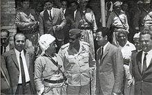 Saddam Hussein and Mustafa Barzani meeting on 10 March 1970, before the signing of the Iraqi-Kurdish Autonomy Agreement of 1970 on 11 March.