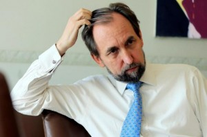 United Nations High Commissioner for Human Rights Zeid Ra'ad Al Hussein gestures during an interview with Reuters in Geneva, Switzerland, August 10, 2016. REUTERS/Pierre Albouy