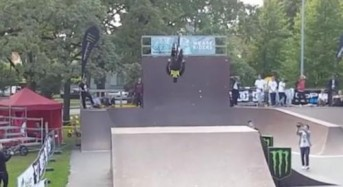 Estonian security guard performs trick on confiscated BMX bike