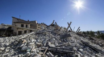 Drone footage shows earthquake destruction in Italy; dog rescued