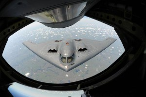 A U.S. Air Force B-2 Spirit bomber approaches the rear of a KC-135 Stratotanker aircraft for mid-air refueling during a training mission over the Midwest on August 1, 2013. The B-2's unique design enables it to travel into enemy territory without being detected by radar. B-2 bombers killed at least 85 Islamic State militants in Libya after dropping 108 precision-guided bombs on Wednesday, U.S. defense officials said. Photo by Airman 1st Class John Linzmeier, U.S. Air Force/U.S. Department of Defense