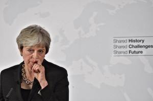 British Prime Minister Theresa May gestures as she delivers her speech in Florence, Italy September 22, 2017. REUTERS/Maurizio Degl'Innocenti/Pool