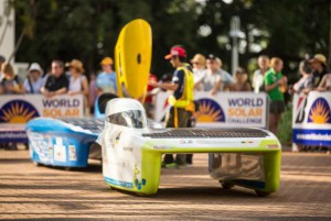 Punch Powertrain Solar Team from Belgium with their Punch Two car starts off as the World Solar Challenge begins at Parliament House in Darwin, Northern Territory, Australia, on Sunday. Photo by Glenn Campbell/EPA-EFE