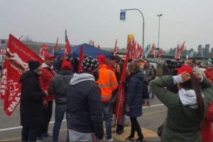 "Warehouse employees at Amazon.com's Piacenza, Italy, facility joined workers at six Amazon warehouses in Germany in a strike on ""Black Friday."" Photo courtesy of ERCGIL Union/Twitter"