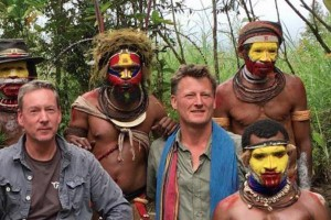 Explorer Benedict Allen (R) has been sighted in Papua New Guinea after disappearing for days, a friend said Thursday. Photo courtesy Frank Gardner/Twitter