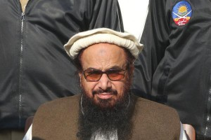 Terrorism suspect Hafiz Saeed appears at a protest against President Donald Trump's decision to accept Jersulalem as Israel's capital on December 8 in Lahore, Pakistan. In a rally Friday, he appeared with Walid Abu Ali, who is the Palestinian Authority's ambassador to Pakistan. Photo by Rahat Dar/EPA
