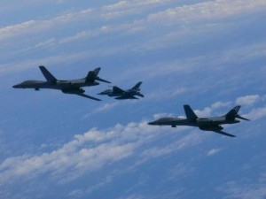 U.S. Air Force B-1B Lancers conducted simulated bombing drills as part of a joint aerial exercise with South Korea. Photo courtesy of U.S. Air Force/UPI | License Photo