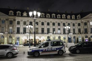 A police car is parked in front of the main entrance of the Ritz Paris where a burglary happened on Wednesday. Photo by Ian Langsdon/EPA-EFE