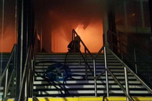 About 60 firefighters tackled a fire early Friday at the Nottingham train station, about 130 miles north of London. No injuries were reported, cause of the fire is under investigation. Photo courtesy British Transport Police/Twitter