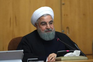 "Iranian President Hassan Rouhani speaks during a cabinet meeting in Tehran. ""Recent protests seem to be a threat, but they are actually an opportunity to see what the problem is,"" he said Monday. Photo by EPA/Presidential Office website"