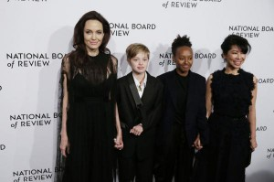 Actress Angelina Jolie, Shiloh Jolie-Pitt, Zahara Jolie-Pitt, and Loung Ung arrive on the red carpet at the National Board of Review Annual Awards Gala in New York City on January 9. Jolie and actor Brad Pitt adopted Zahara Jolie-Pitt, born in Ethiopia, in 2005. Photo by John Angelillo/UPI | License Photo