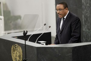 Hailemariam Desalegn, prime minister of Ethiopia, addresses the United Nations in 2013. File Photo by John Angelillo/UPI | License Photo