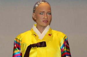 Sophia, an artificial intelligence robot developed by Hanson Robotics, is being displayed in Seoul. Photo by Yonhap