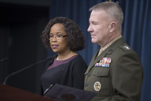 Dana White, the assistant to the secretary of defense for public affairs, and Lt. Gen. Kenneth F. McKenzie, the Joint Chiefs of Staff director, brief the press at the Pentagon in Washington, D.C., on Thursday. Photo by Kathryn E. Holm/U.S. Navy