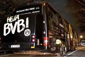 Damage is visible on the right side of the bus of Germany's Dortmund Borussia soccer team, where homemade bombs exploded on April 11, 2017. File Photo by Friedermann Vohl/EPA