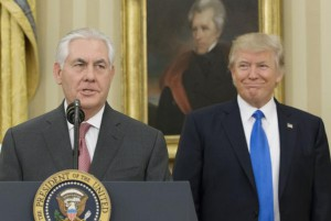 Secretary of State Rex Tillerson (L), shown here with President Donald Trump, put Pakistan on a watch list for severe religious freedom violations. File Photo by Michael Reynolds/UPI | License Photo
