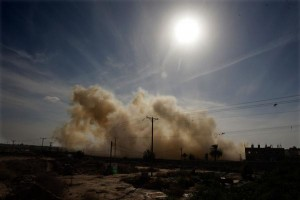 Smoke rises after a house is blown up during a military operation by Egyptian security forces in Sinai in 2014. File photo by Ismael Mohamed/UPI | License Photo