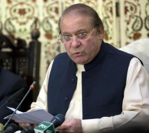 Former Pakistan Prime Minister Nawaz Sharif talks with journalists after he appeared before an accountability court, in Islamabad on September 26, 2017. On Wednesday, the Pakistan Supreme Court ruled Sharif can no longer lead his party. File Photo by T. Mughal/EPA-EFE