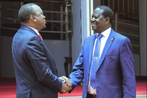 Kenyan President Uhuru Kenyatta (L) and opposition leader Raila Odinga shake hands Friday after a joint news conference in Nairobi, Kenya. Photo by EPA-EFE