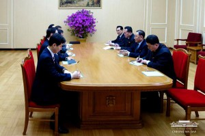 This image, released on March 5, 2018, by the South Korean Presidential Blue House, shows delegates from South Korea meeting with members of North Korea's Workers' Party Central Committee in Pyongyang, North Korea. The South Korean officials are on a mission to broker denuclearization talks between the North and the United States. Photo by South Korean Presidential Blue House/UPI | License Photo