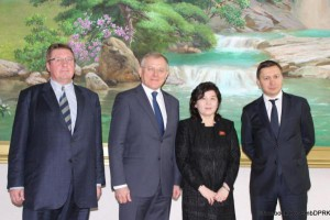 Russian ambassador to North Korea Alexander Matzegora (C-L) stands next to North Korea's Choi Sun Hee during a meeting held on Monday in Pyongyang. Photo courtesy of Russian Federation Embassy in DPRK/Facebook