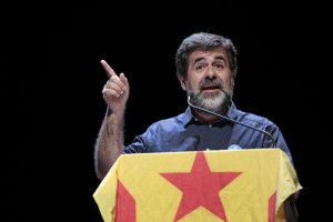 Catalan presidential nominee Jordi Sanchez speaks at an event supporting Catalan independence in Barcelona, Spain. File photo by Susanna Saez/EPA-EFE