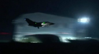 British jets in 'successful' strike on chemical weapons base in Syria as Theresa May denies aim is 'regime change'