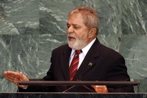 Brazilian President Luiz Inacio Lula da Silva, speaking at the 64th United Nations General Assembly on September 23, 2009, defied a court order to turn himself in to federal authorities to begin serving a 12-year prison sentence on a corruption conviction. UPI/John Angelillo | License Photo