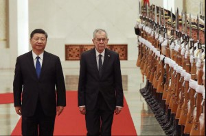 Chinese President Xi Jinping (L) and Austrian Federal President Alexander Van der Bellen (R) walk pass the People's Liberation Army honor guard during a welcome ceremony at the Great Hall of the People in Beijing on Sunday. China is expanding ties with European countries while building new free-trade zones. Photo by Wu Hong/EPA-EFE