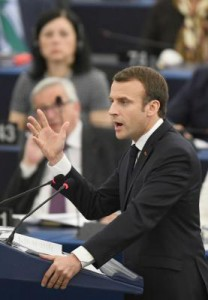 French President Emmanuel Macron delivers a speech at the European Parliament in Strasbourg, France, on Tuesday. Photo by Patrick Seeger/EPA-EFE